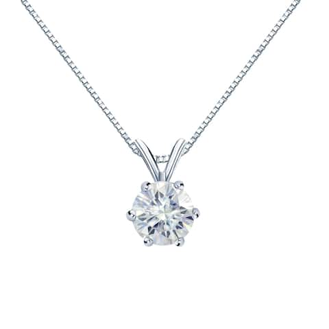Auriya 1 1/2ct Round 6 Prong Solitaire Moissanite Necklace 14k Gold - 1.50ct