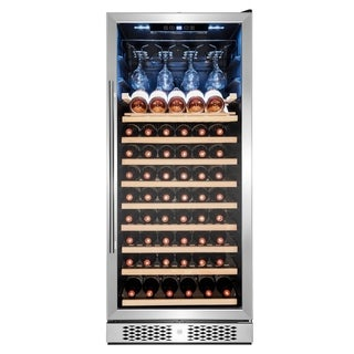 AKDY 59-Bottle Touch Panel Single Zone Wood Shelf Freestanding Compressor Wine Cooler