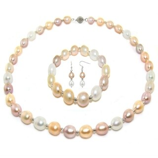 DaVonna Sterling Silver long shape 9-10mm Freshwater Pearl Necklace, Bracelet and Earrings Set
