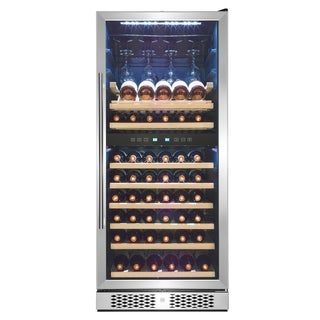 "AKDY 54"" 53-Bottle Touch Panel Dual Zone Shelves Freestanding Compressor Wine Cooler"