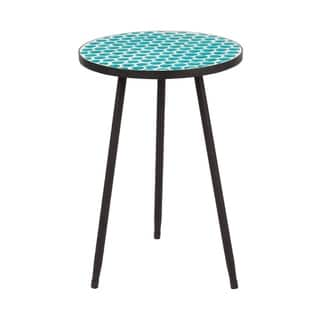 Round Mosaic Table--Green Dots