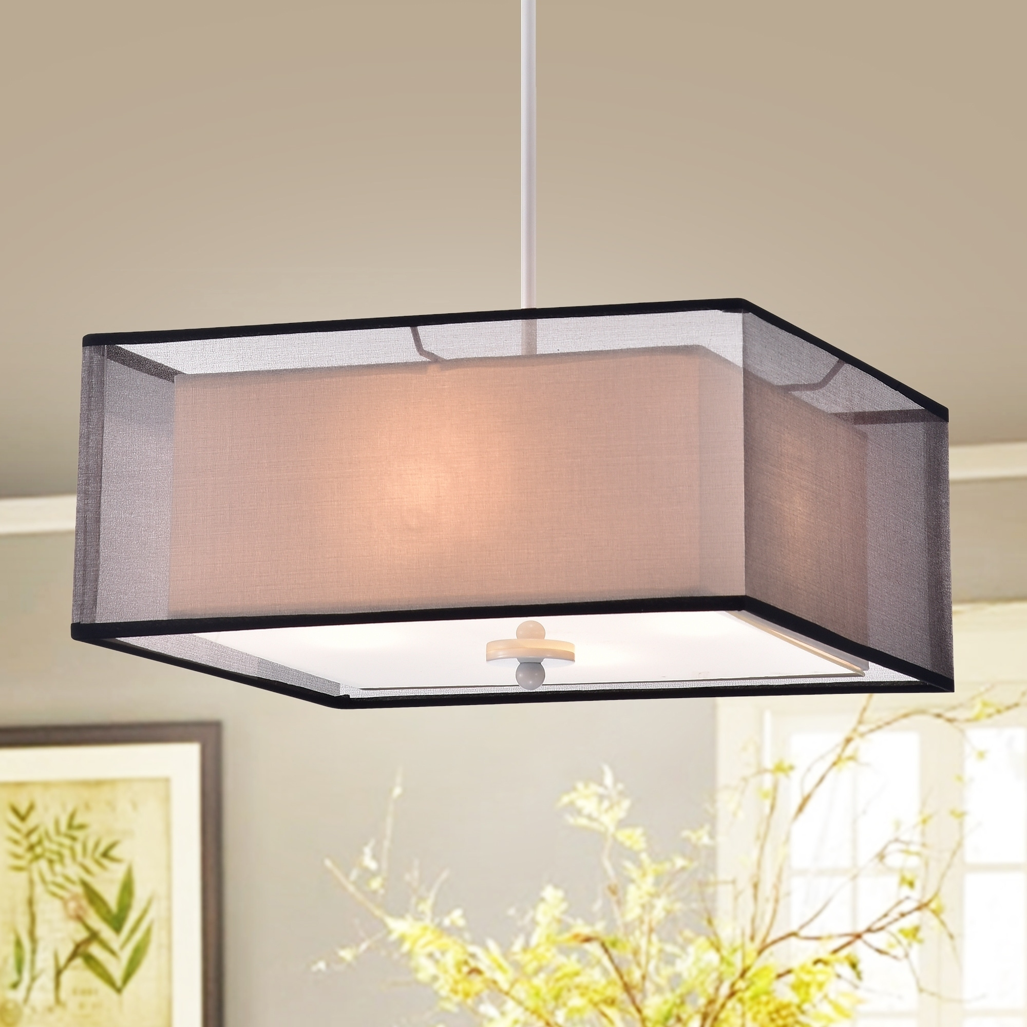 Prest 16 Inch Square Pendant Lamp With Black Sheer Fabric Shade