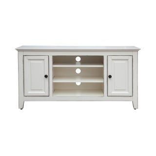 "48"" Wood Grain TV Stand in Antique White"