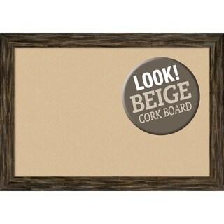 Framed Beige Cork Board, Fencepost Brown Narrow