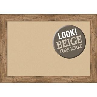 Framed Beige Cork Board, Owl Brown