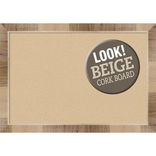 Framed Beige Cork Board, Natural White Wash