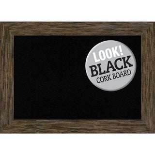 Framed Black Cork Board, Fencepost Brown