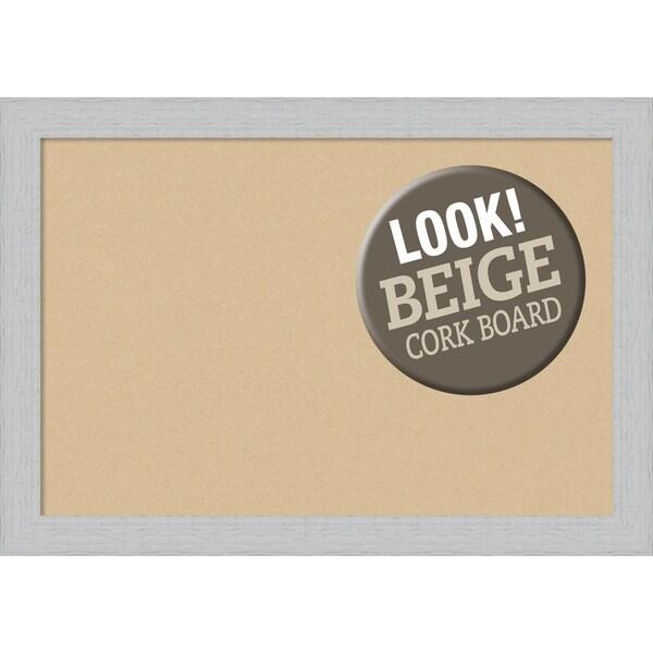 Framed Beige Cork Board, Shiplap White