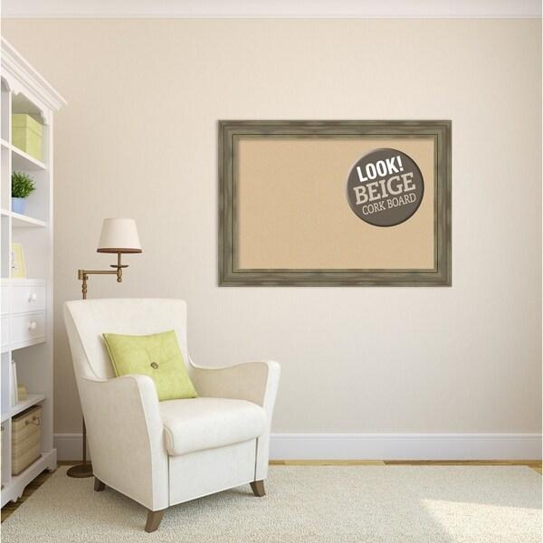 Framed Beige Cork Board, Alexandria Greywash