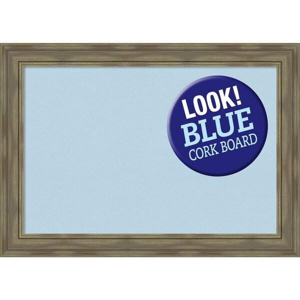 Framed Blue Cork Board, Alexandria Greywash