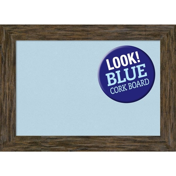 Framed Blue Cork Board, Fencepost Brown