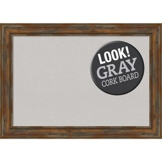 Framed Grey Cork Board, Alexandria Rustic Brown