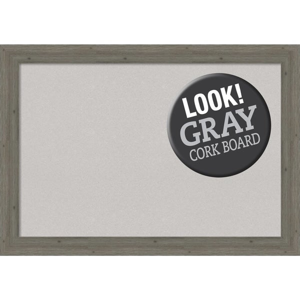 Framed Grey Cork Board, Fencepost Grey Narrow