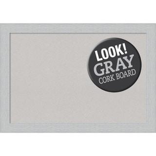 Framed Grey Cork Board, Shiplap White