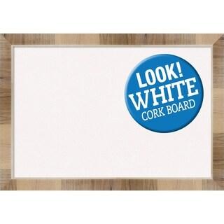 Framed White Cork Board, Natural White Wash