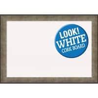 Framed White Cork Board, Pounded Metal