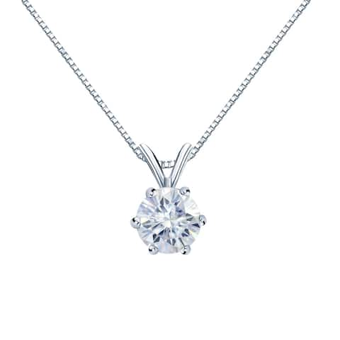 Auriya Round Solitaire Moissanite Necklace 3/4ct DEW 6-prong Basket 18k Gold - 5.9 mm