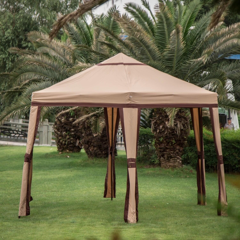 Pop Up Canopy Tent >> Kinbor 11 8 X 10 2 Hexagonal Outdoor Gazebo Pop Up Canopy Tent Portable Shade Canopy Heavy Duty Instant Canopy