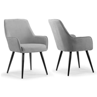 Set of 2 Amir Grey Dining Chair with Black Metal Legs and Square Arms