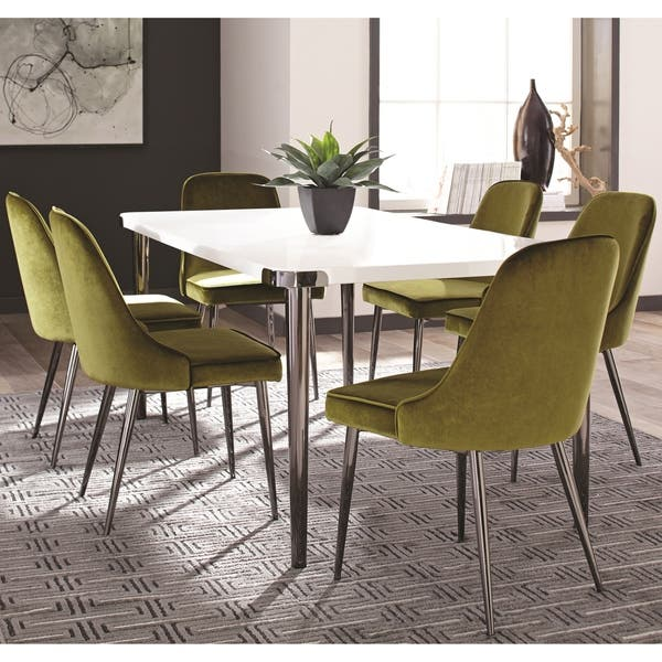 Stupendous Shop White Wood Metal Glossy Top Modern Mid Century Dining Gmtry Best Dining Table And Chair Ideas Images Gmtryco