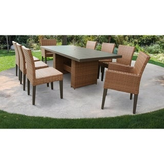 Laguna Rectangular Outdoor Patio Dining Table with with 6 Armless Chairs and 2 Chairs w/ Arms