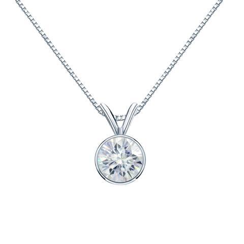 Auriya 1 1/4ct Round Bezel Set Solitaire Moissanite Necklace 14k Gold - 1.25ct