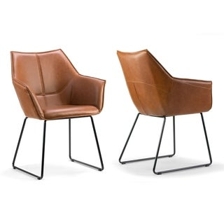 Link to Set of 2 Amna Brown Arm Chair with Black Metal Legs Similar Items in Dining Room & Bar Furniture