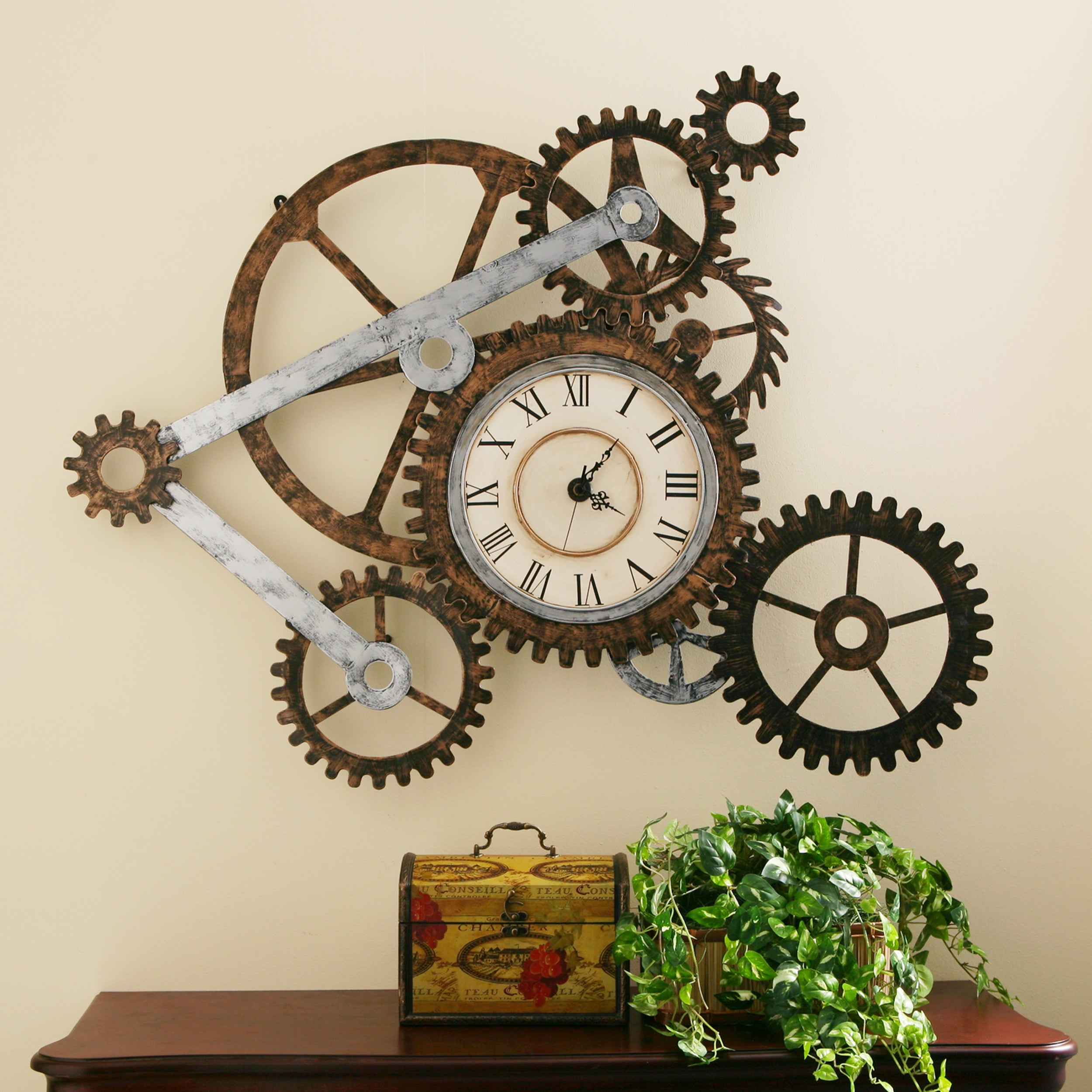 Industrial Gear Clock Gears Wall Art Rustic Farmhouse Metal Steam Punk Style