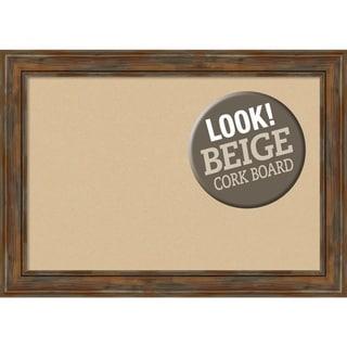 Framed Beige Cork Board, Alexandria Rustic Brown