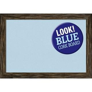 Framed Blue Cork Board, Fencepost Brown Narrow