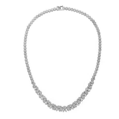 Collette Z Sterling Silver with Rhodium Plated Clear Marquise and Round Cubic Zirconia Graduated Floral Necklace