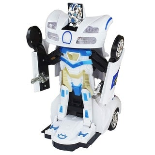 Toys & Games Bump and Go Battery Operated Transforming Action Police Car Transforming Robot / White Bugatti Supercar.