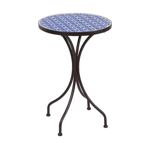 Round Mosaic Table--Blue & White Pattern