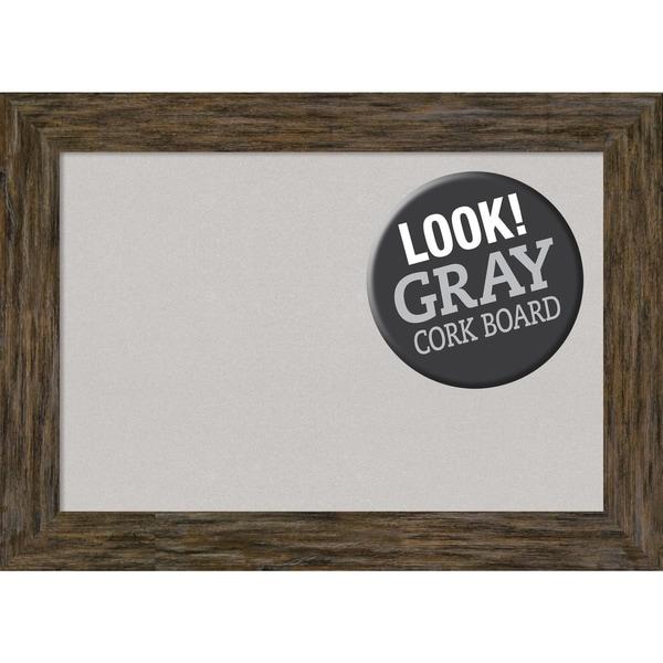 Framed Grey Cork Board, Fencepost Brown