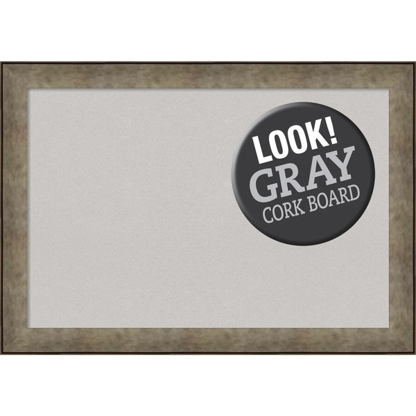 Framed Grey Cork Board, Pounded Metal
