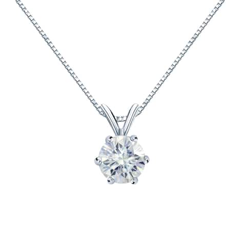 Auriya Round Solitaire Moissanite Necklace 1ctw 6-prong Basket 14k Gold - 6.5 mm - 6.5 mm