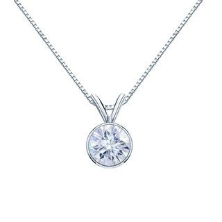 14k Gold 1 3/4ct Round Bezel Set Solitaire Moissanite Necklace by Auriya - 1.75ct