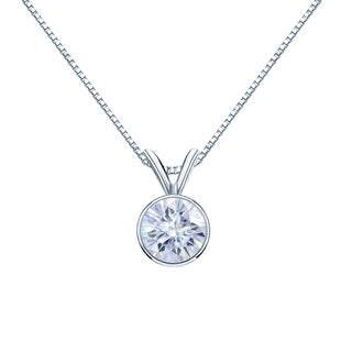 Auriya Solitaire Moissanite Necklace 1ct DEW Bezel Set 14k Gold 6 5 Mm