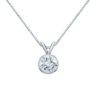 14k Gold 1ct Round Bezel Set Solitaire Moissanite Necklace by Auriya - 1.00ct
