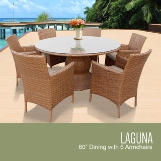 Laguna 60 Inch Outdoor Patio Dining Table with 6 Chairs w/ Arms