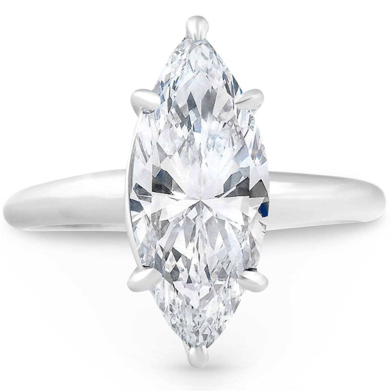 Shop Pompeii3 14k White Gold 3 00 Ct Solitaire Marquise Diamond Engagement Ring Clarity Enhanced Overstock 24040124