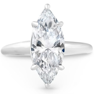 Pompeii3 14k White Gold 3 00 Ct Solitaire Marquise Diamond Engagement Ring Clarity Enhanced