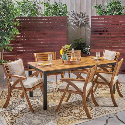 Concord Outdoor 7 Piece Acacia Wood Dining Set by Christopher Knight Home