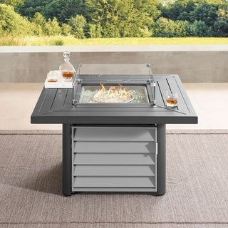Havenside Home Wevok 42 Inch Square Aluminum Propane Fire Pit Table