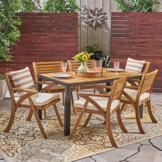Bellmill Outdoor 6-Seater Rectangular Acacia Wood Dining Set by Christopher Knight Home