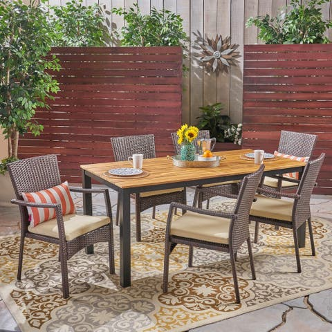 Marconi Outdoor 7 Piece Acacia Wood Dining Set with Wicker Chairs by Christopher Knight Home