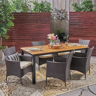 Dane Outdoor 7 Piece Acacia Wood Dining Set with Wicker Chairs by Christopher Knight Home