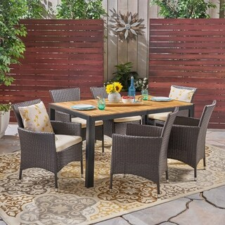 Abel Outdoor 6-Seater Rectangular Acacia Wood and Wicker Dining Set by Christopher Knight Home