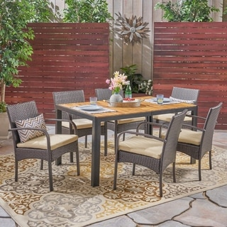 Miles Outdoor 6-Seater Rectangular Acacia Wood and Wicker Dining Set by Christopher Knight Home