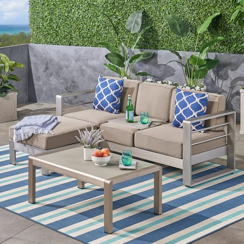 Cape Coral Outdoor 3-Seater Aluminum Sofa Set with Coffee Table and Ottman by Christopher Knight Home